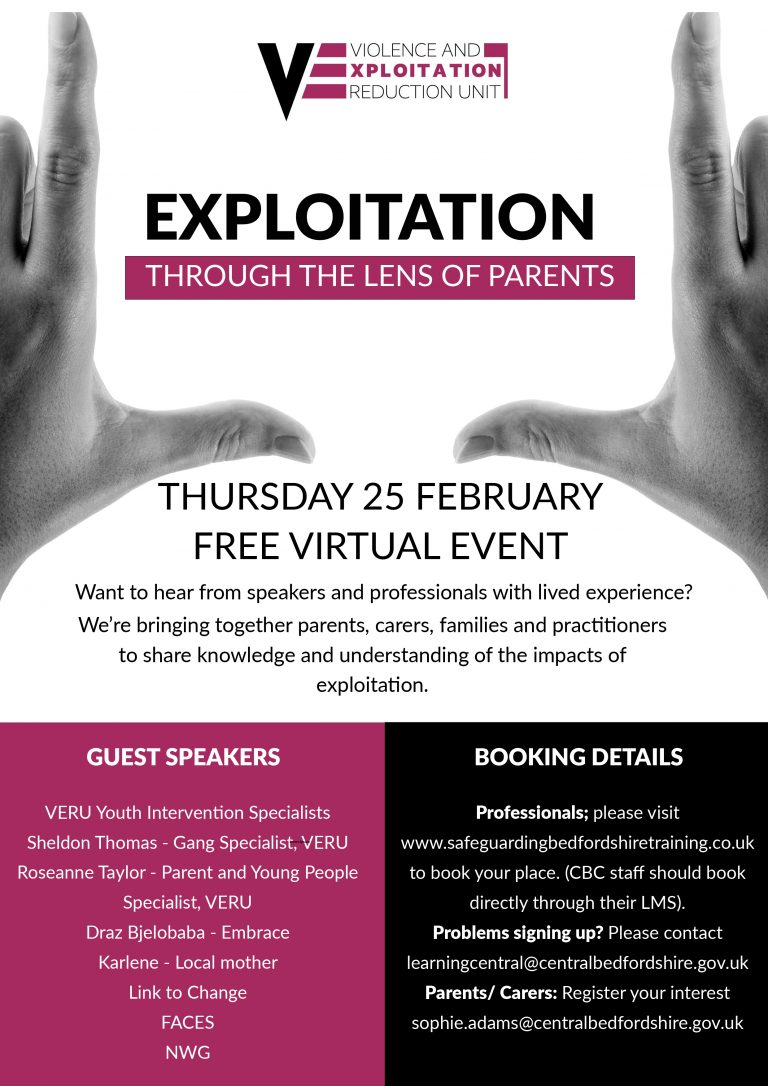 Exploitation through the lens of parents - conference flyer