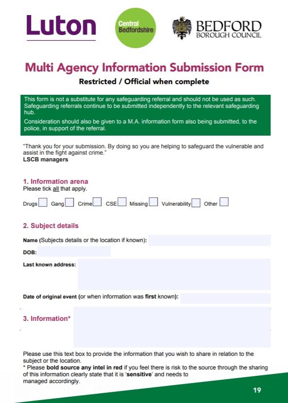 Multi agency info form