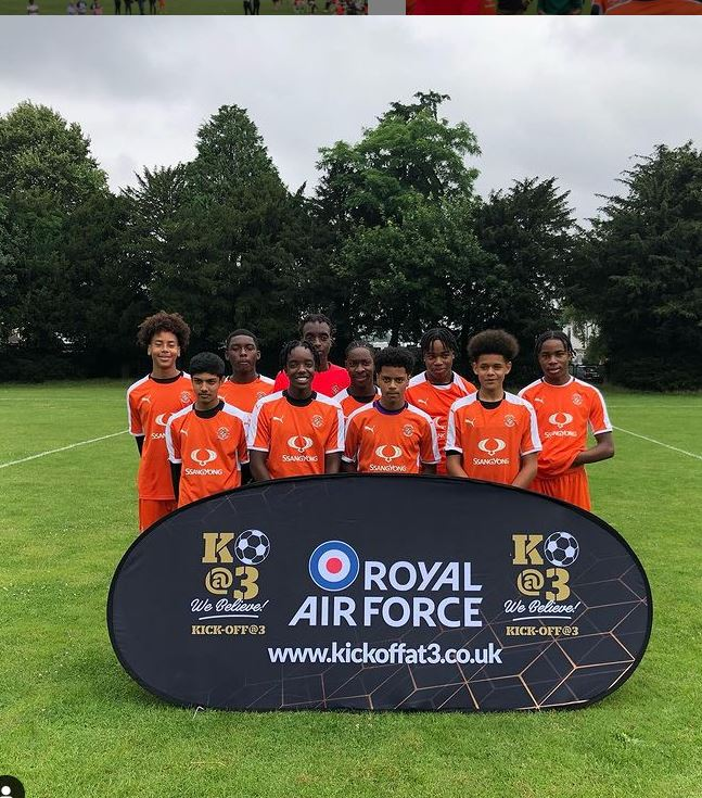 Inspire Athletic team photo. They were one of two Bedfordshire teams to attend the Kick Off At 3 football tournament