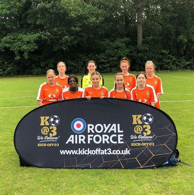 Luton All Star Lionesses team photo. They were one of two Bedfordshire teams to attend the Kick Off At 3 football tournament