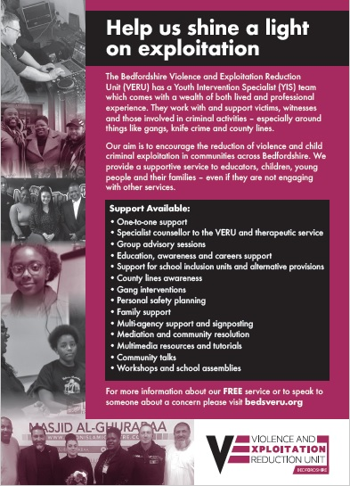 The front of a leaflet advertising the VERU, which is available to download