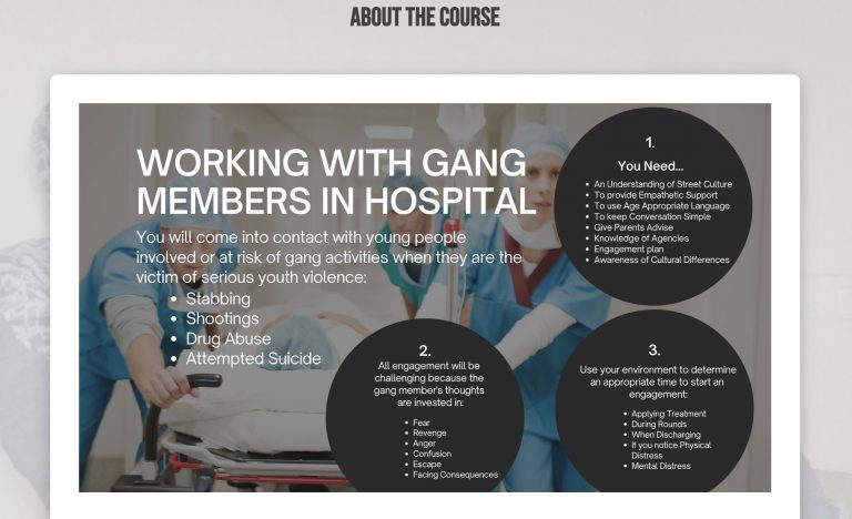 An image from the Gangsline training for NHS staff